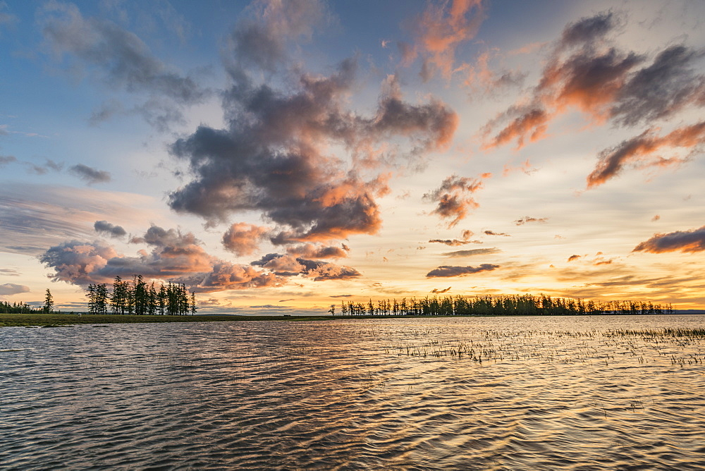 Fir trees and clouds reflecting on the suface of Hovsgol Lake at sunset, Hovsgol province, Mongolia, Central Asia, Asia - 1251-365