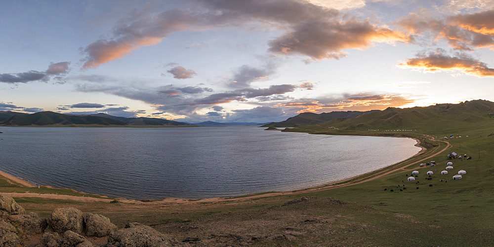 Sunset over White Lake, Tariat district, North Hangay province, Mongolia, Central Asia, Asia - 1251-369