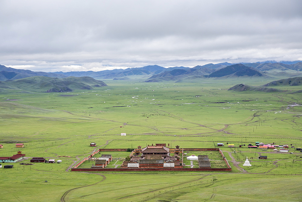 View of Amarbayasgalant Monastery from above. Mount Buren-Khaan, Baruunburen district, Selenge province, Mongolia.