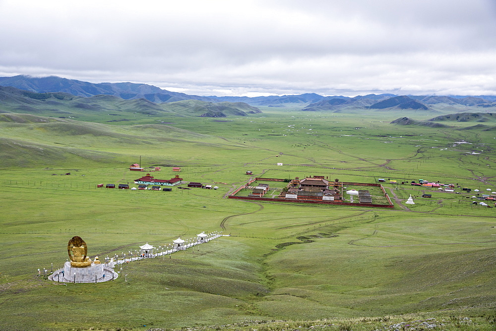 Amarbayasgalant Monastery from above. Mount Buren-Khaan, Baruunburen district, Selenge province, Mongolia.