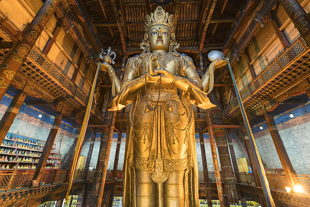 Avalokitesvara statue in Gandan monastery, Ulan Bator, Mongolia, Central Asia, Asia