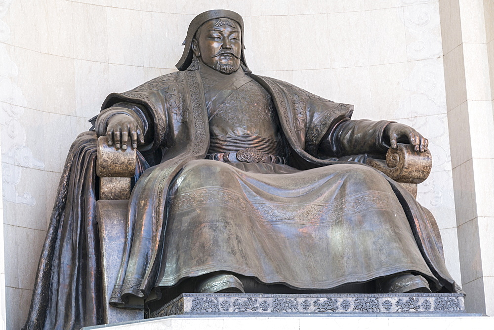 Genghis Khan statue at the Government Palace. Ulan Bator, Mongolia.