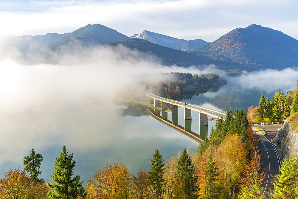 Sylvenstein Lake and bridge surrounded by the morning mist, Bad Tolz-Wolfratshausen district, Bavaria, Germany, Europe - 1251-394