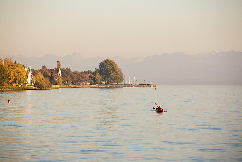 Canoeing on Lake Constance at sunset, Meersburg, Baden-Wurttemberg, Germany, Europe - 1251-432