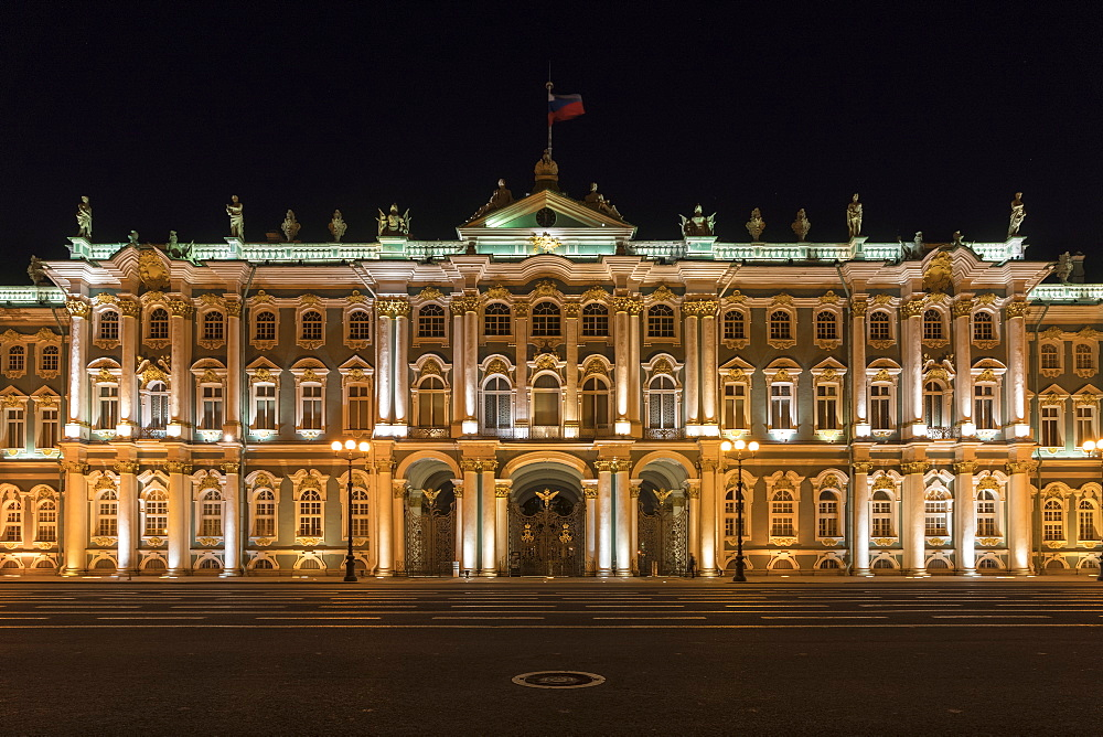 Winter Palace in Palace square at night. Saint Petersburg, Russia. - 1251-437