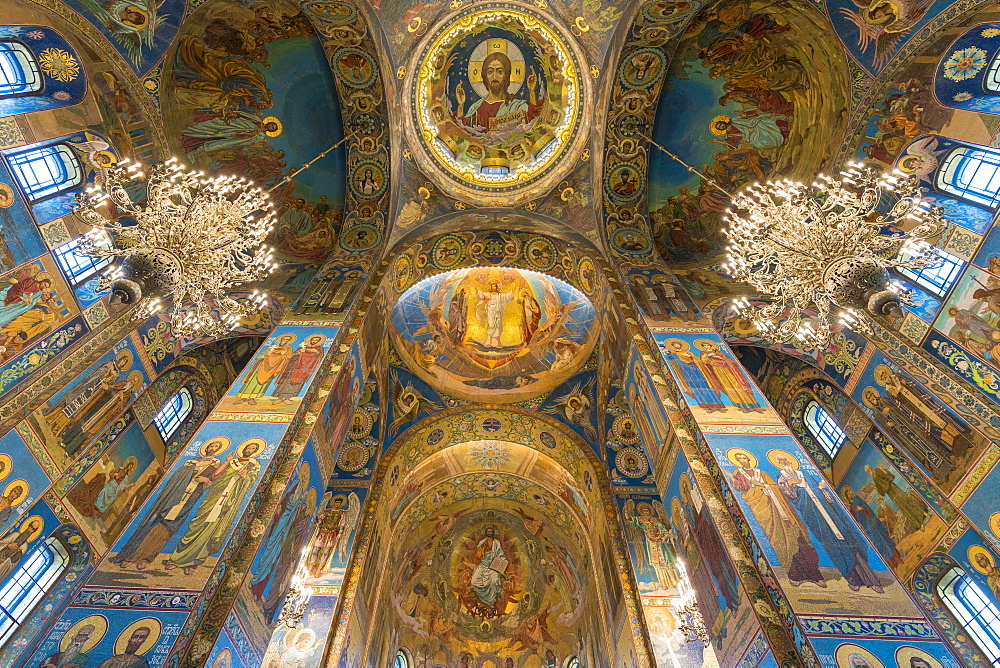 Interior of Church of the Savior on Spilled Blood in St. Petersburg, Russia, Europe