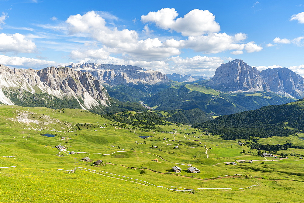 Landscape of Sella and Langkofel mountain groups in Italy, Europe - 1251-448