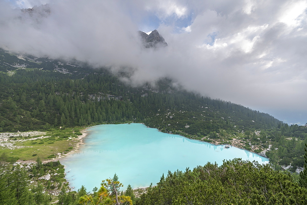 Sorapis Lake from an elevated point of view in summer. Cortina d'Ampezzo, Belluno province, Veneto, Italy.