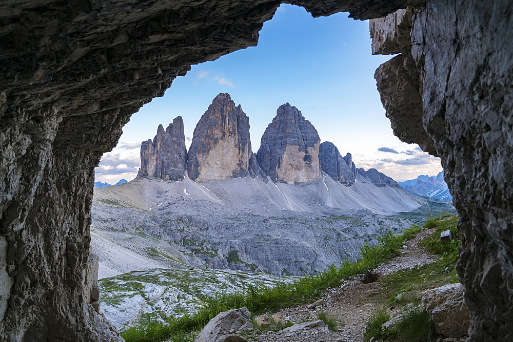 View from rock cave of Three Peaks of Lavaredo in Italy, Europe - 1251-459