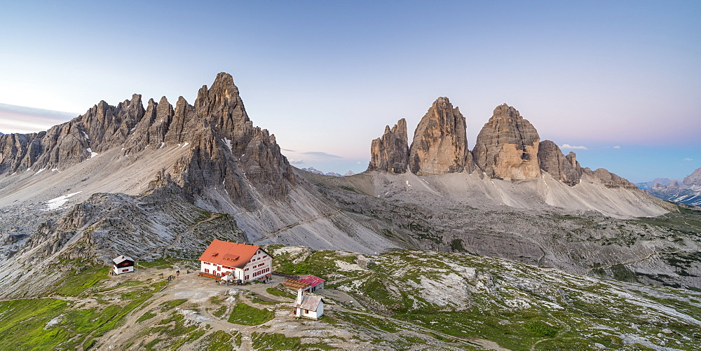 Dreizinnen hut by Mount Paterno and Three Peaks of Lavaredo in Italy, Europe - 1251-460