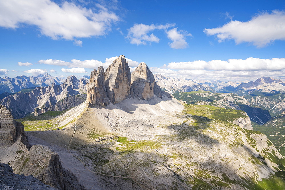 View of the Three Peaks of Lavaredo from the summit of Mount Paterno in summer. Sesto Dolomites, Trentino Alto Adige, Italy.