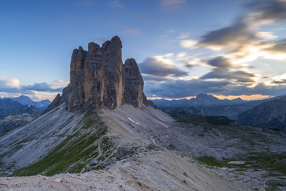 Three Peaks of Lavaredo at sunset in Italy, Europe - 1251-465