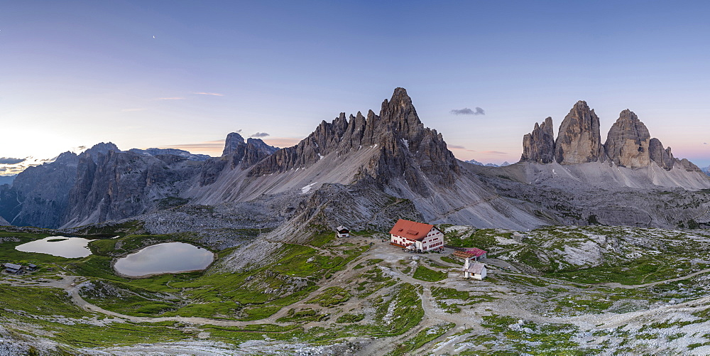 Panorama of Piani Lakes and Dreizennen hut below mountains in Italy, Europe - 1251-466