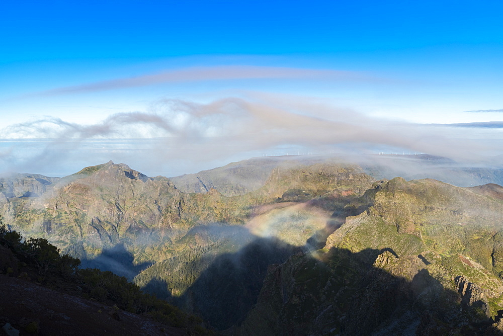 Clouds and mountains seen from Pico Ruivo, Achada do Teixeira, Santana municipality, Madeira, Portugal, Europe - 1251-496