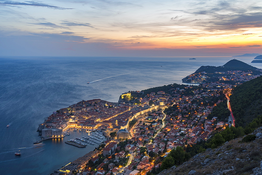 The town at sunset from an elevated point of view. Dubrovnik, Dubrovnik - Neretva county, Croatia.