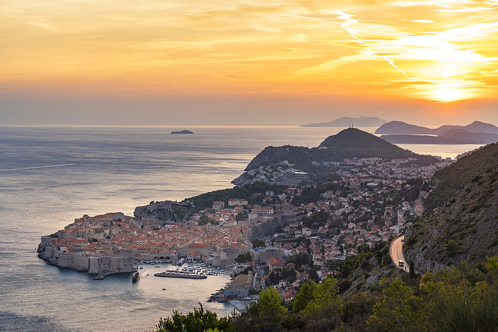 The town during a summer sunset from an elevated point of view. Dubrovnik, Dubrovnik - Neretva county, Croatia.