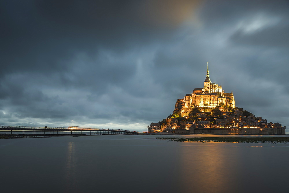 Cloudy sky at dusk. Mont-St-Michel, Normandy, France.