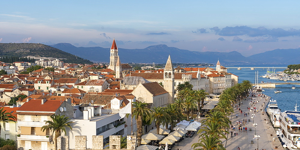 View of the old town and seafront from Karmelengo tower, Trogir, Split-Dalmatia county, Croatia, Europe