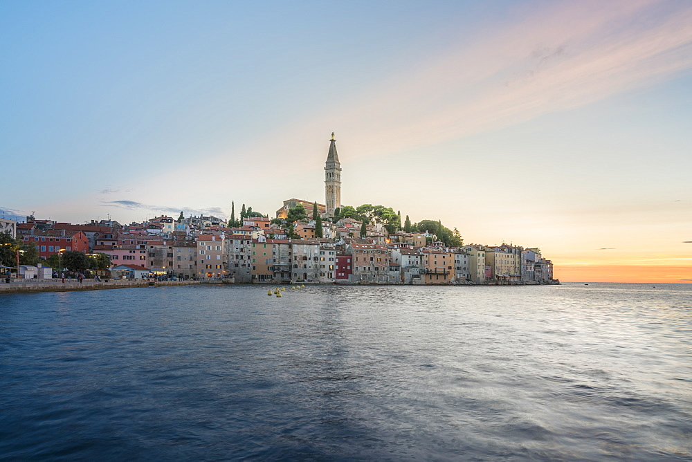 The old town at sunset, in summer, Rovinj, Istria county, Croatia, Europe