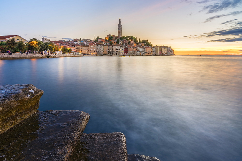 The old town at sunset, in summer, with stone steps in the foreground, Rovinj, Istria county, Croatia, Europe - 1251-522