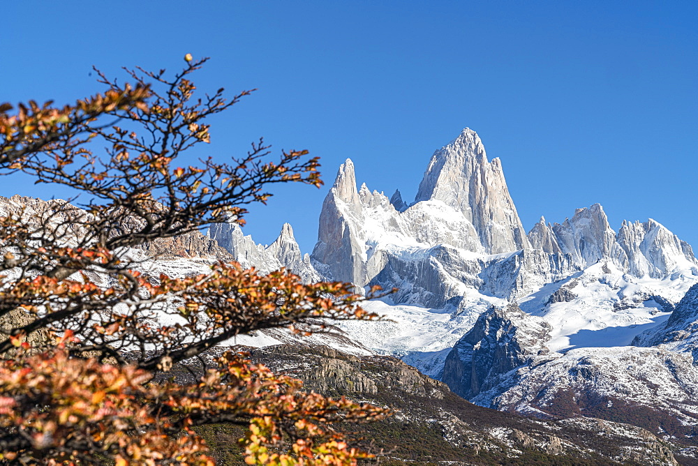 Fitz Roy range peaks in autumnal landscape. El Chalten, Santa Cruz province, Argentina.