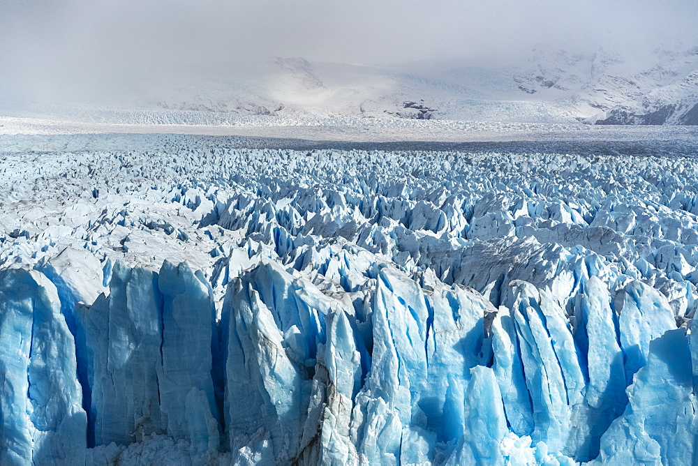 Close up on the ice of Perito Moreno glacier. Los Glaciares National Park, Santa Cruz province, Argentina.