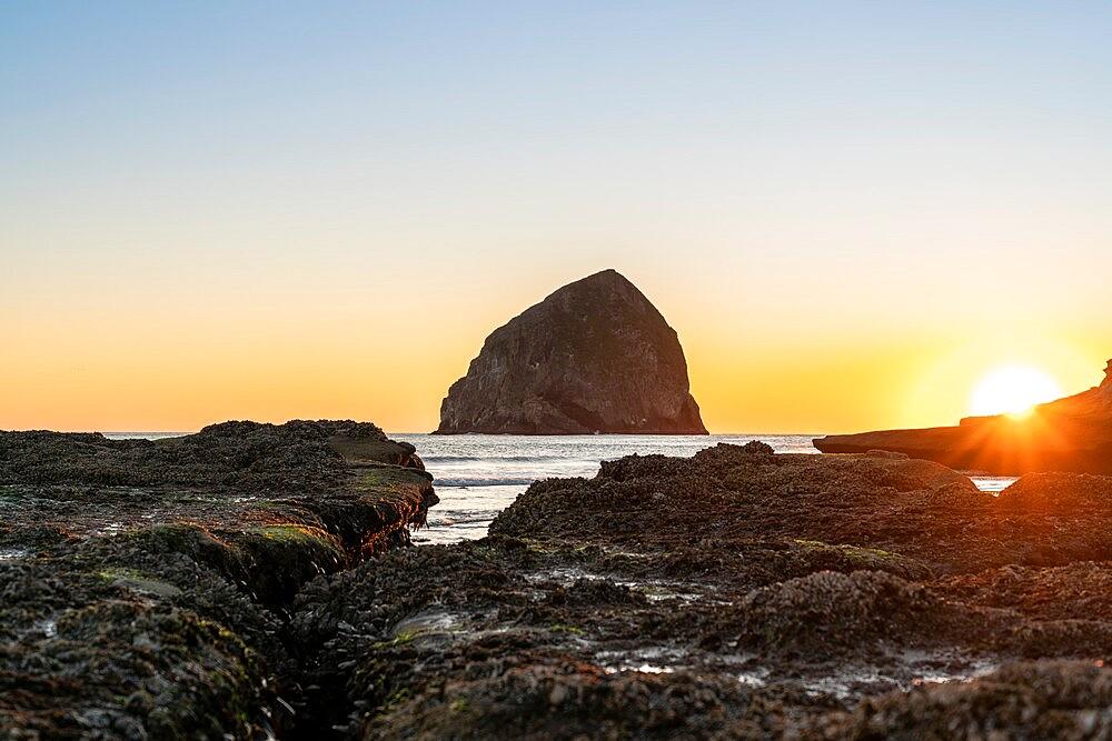 Haystack Rock at Cape Kiwanda at sunset, Pacific City, Tillamook county, Oregon, United States of America, North America - 1251-555