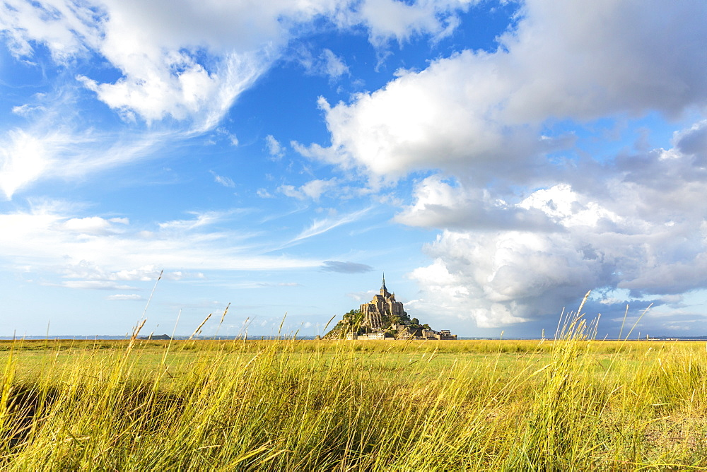 Clouds in the sky and grass in the foreground. Mont-Saint-Michel, Normandy, France.