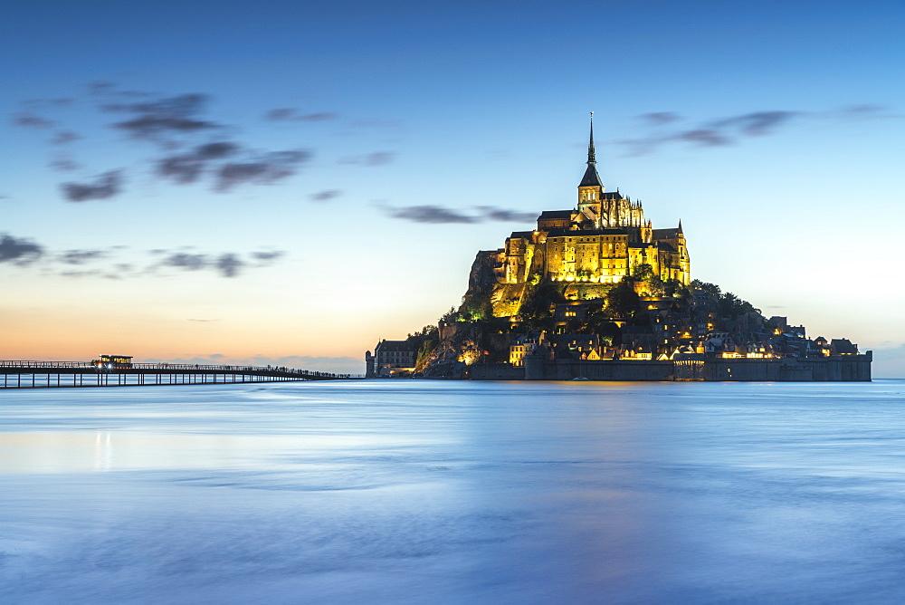 High tide at dusk. Mont-Saint-Michel, Normandy, France.