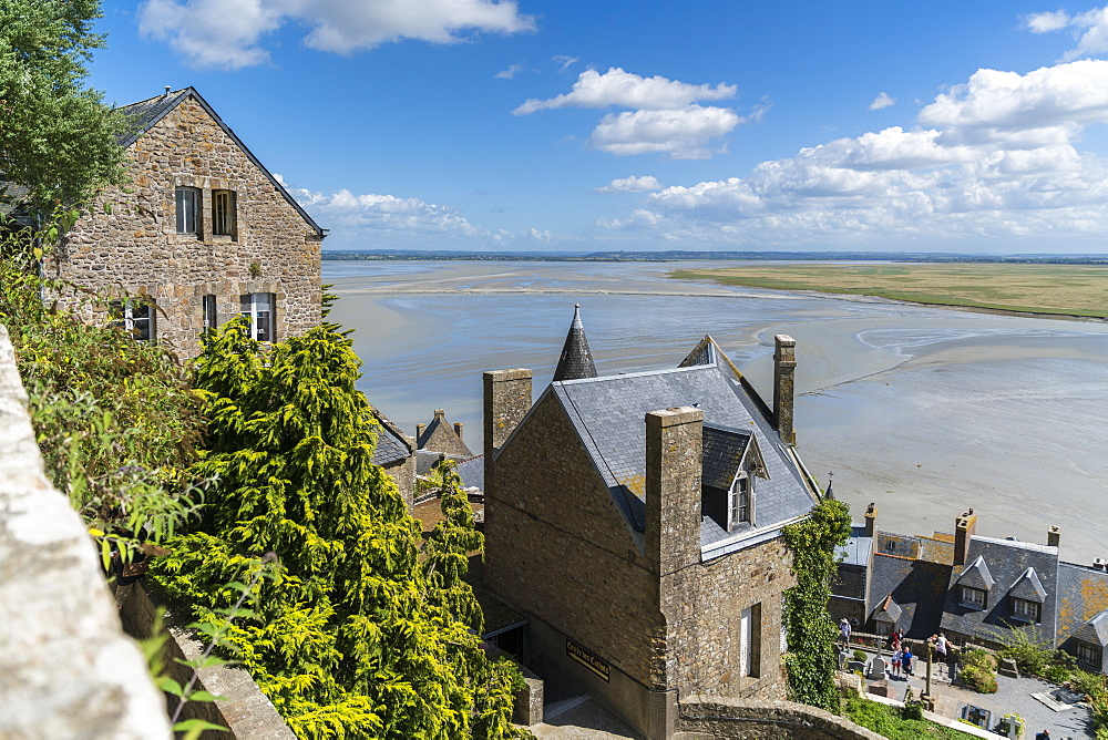 The bay during low tide seen from the top of the village. Mont-Saint-Michel, Normandy, France.