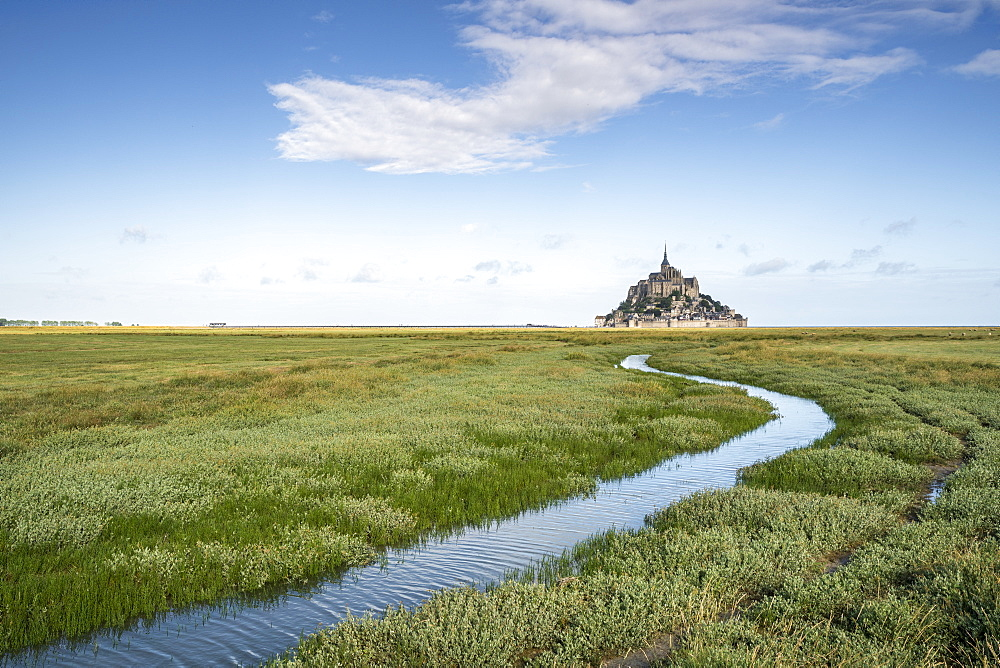 Curves drawn by the tide. Mont-Saint-Michel, Normandy, France.