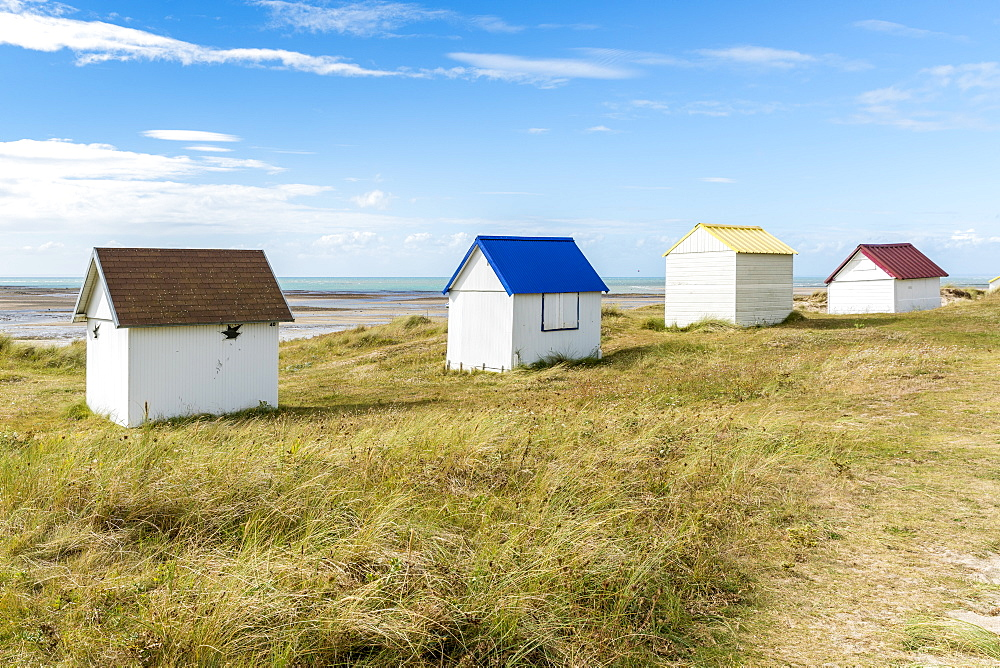 Beach huts. Gouville-sur-Mer, Normandy, France.