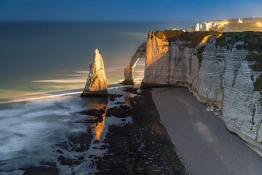 Long exposure Photo of sunset at the cliffs. Etretat, Normandy, France
