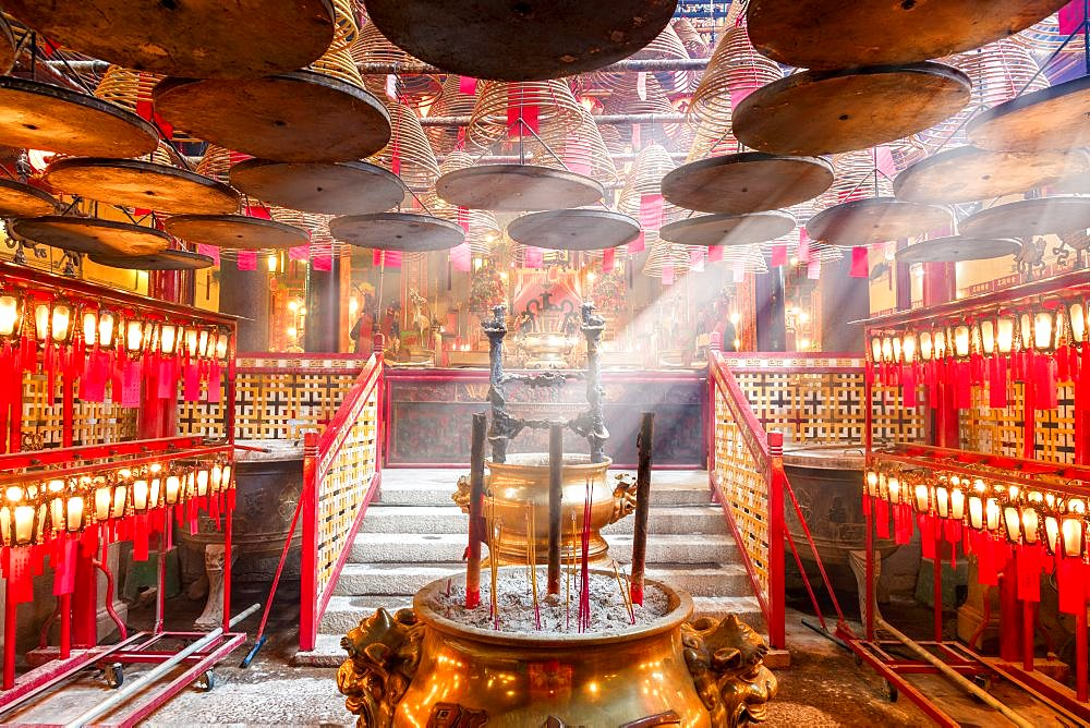 Interior of Man Mo Temple in Hong Kong, it is one of the famous temple. China, Asia