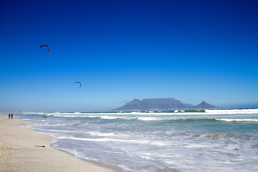 Table Mountain and kite surfers, Cape Town, South Africa, Africa - 1262-198