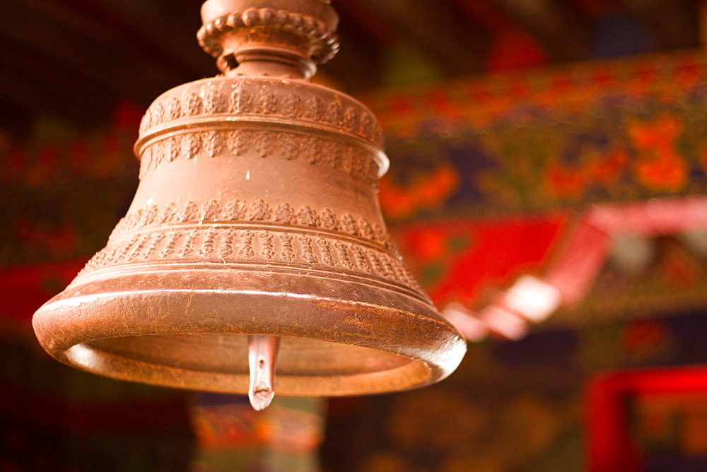 Tashi Lhunpo Monastery ceremonial bell, Shigatse, Tibet, China, Asia