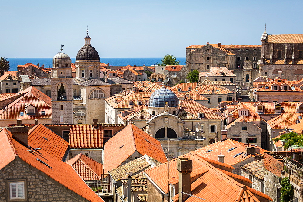 Looking across Dubrovnik's terracotta tiled rooftops, Dubrovnik, Croatia, Europe - 1263-114