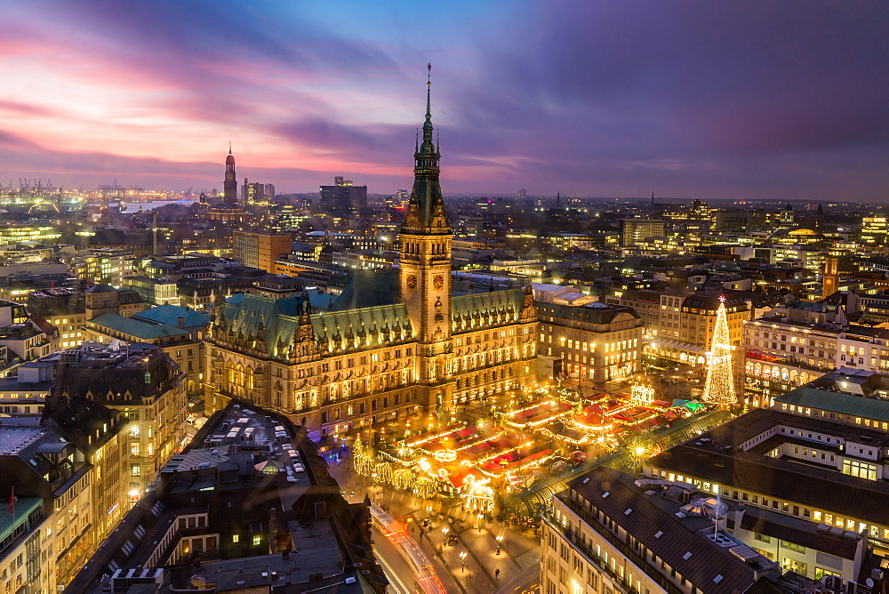 Hamburg's Town Hall (Rathaus) and Christmas Market at sunset, Hamburg, Germany, Europe