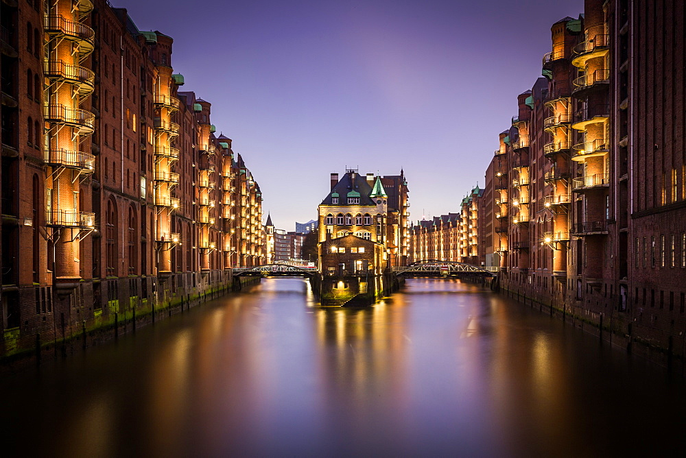 A long exposure blue hour shot of the Speicherstadt warehouse district in Hamburg, Germany - 1263-121