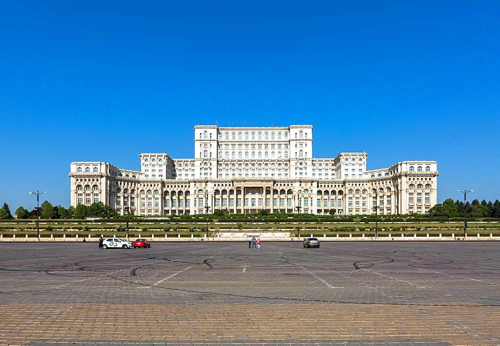 Bucharest's huge Palace of Parliament (Palatul Parlamentului) on a clear, sunny day. Romania. - 1263-125