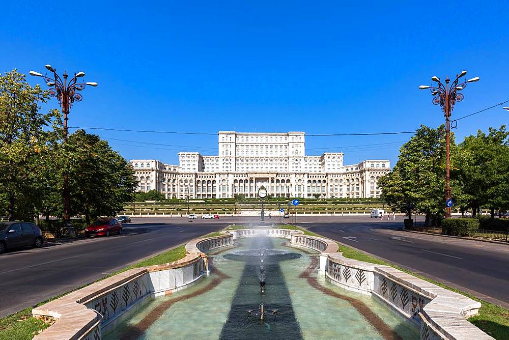 Bucharest's huge Palace of Parliament (Palatul Parlamentului) on a clear sunny day, Bucharest, Romania, Europe