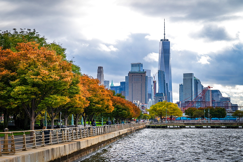 Autumn (fall) colours in Lower Manhattan's Hudson River Park looking towards One World Trade Centre, New York, United States of America, North America