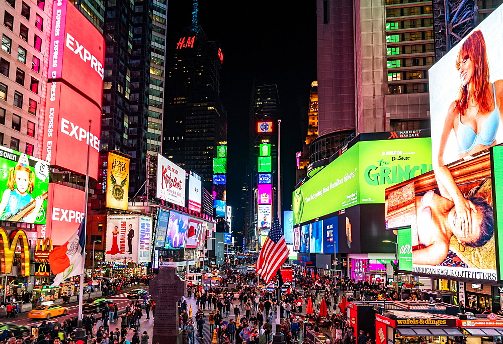 The chaos and lights of New York City's Times Square, New York, United States of America, North America
