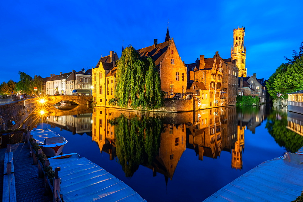 The beautiful buildings of Bruges reflected in the still waters of the canal, UNESCO World Heritage Site, Bruges, Belgium, Europe - 1263-157