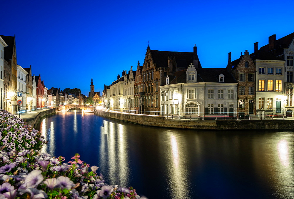 An evening blue hour scene along the canals of Bruges, Belgium, Europe - 1263-158