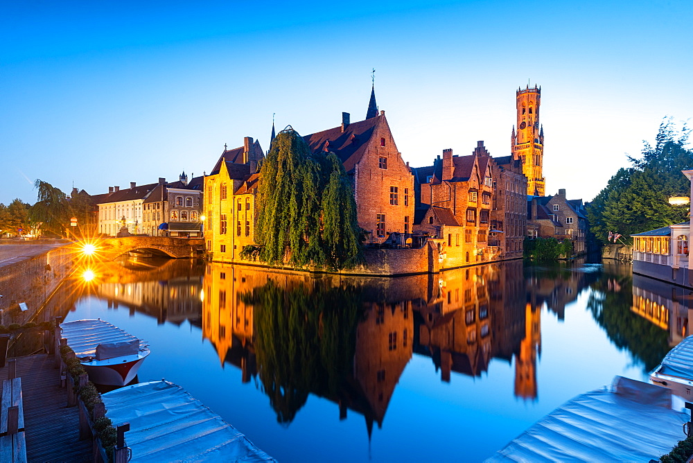 The beautiful buildings of Bruges reflected in the still waters of the canal, UNESCO World Heritage Site, Bruges, Belgium, Europe - 1263-159