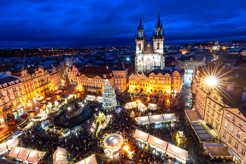 Prague's Old Town Square Christmas Market viewed from the Astronomical Clock during blue hour, UNESCO World Heritage Site, Prague, Czech Republic, Europe - 1263-172