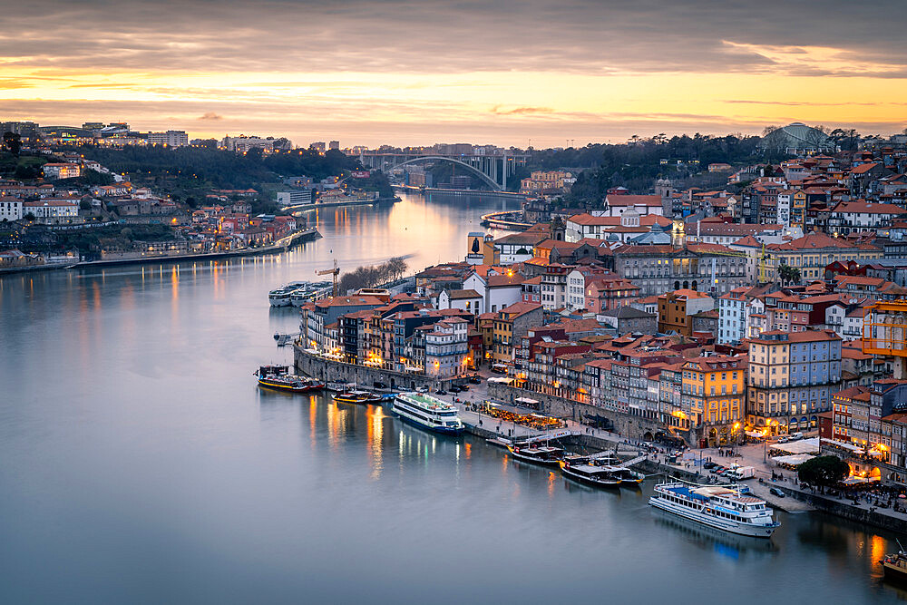 Sunset over Porto looking towards the Ribeira district from the Dom Luis I Bridge, UNESCO World Heritage Site, Porto, Portugal, Europe - 1263-186