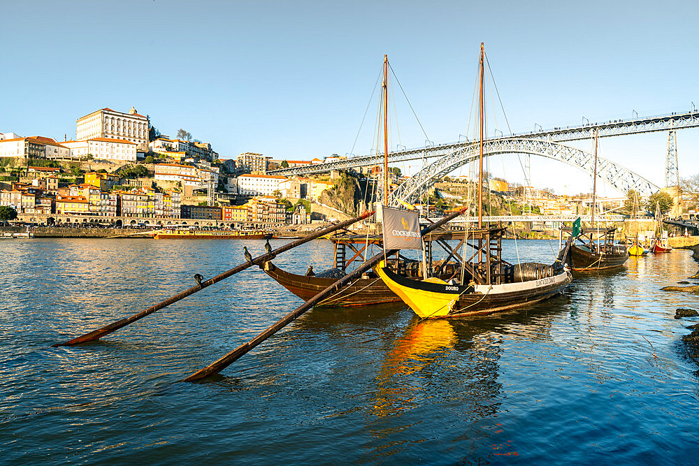 Boats of the Port Bodegas on the Douro river looking towards the Ribeira district of Porto.