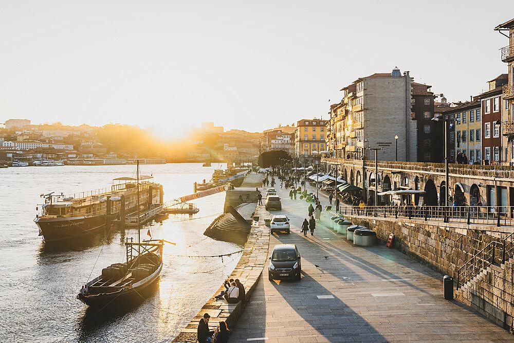 The Cais da Ribeira area of Porto at sunset, UNESCO World Heritage Site, Porto, Portugal, Europe